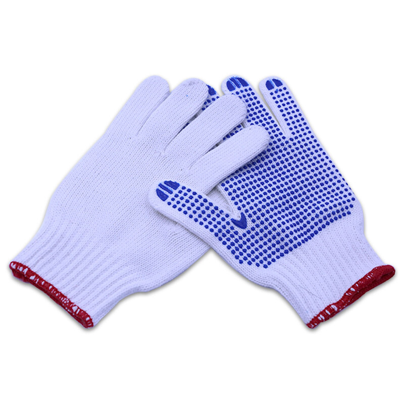 PVC dotted gloves white cotton knitted gloves