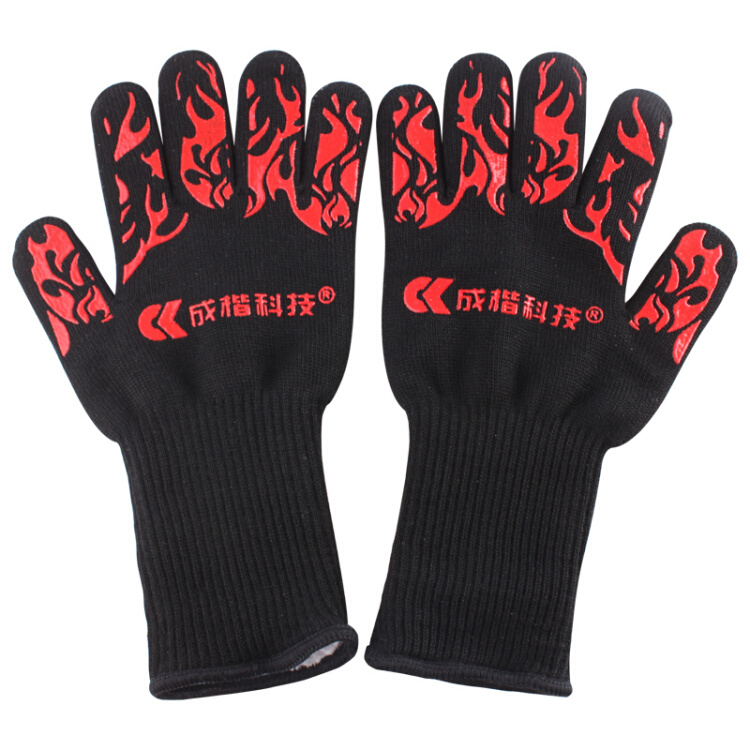 Microwave oven silicone thickened non-slip gloves heat-resistant gloves oven barbecue